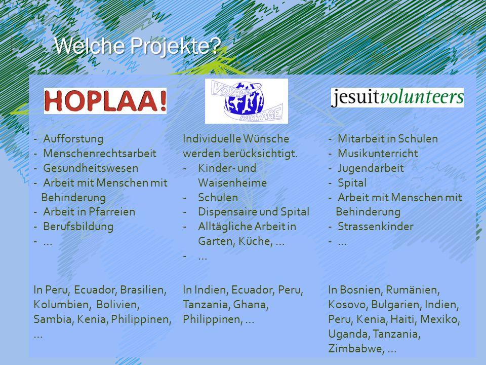 -Aufforstung -Menschenrechtsarbeit -Gesundheitswesen -Arbeit mit Menschen mit Behinderung -Arbeit in Pfarreien -Berufsbildung -… Individuelle Wünsche