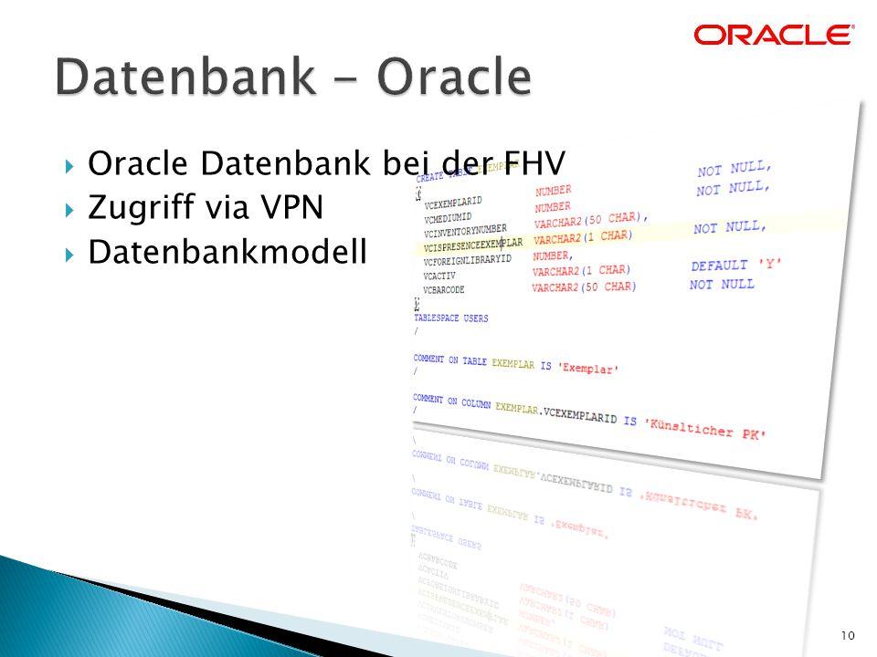  Oracle Datenbank bei der FHV  Zugriff via VPN  Datenbankmodell 10