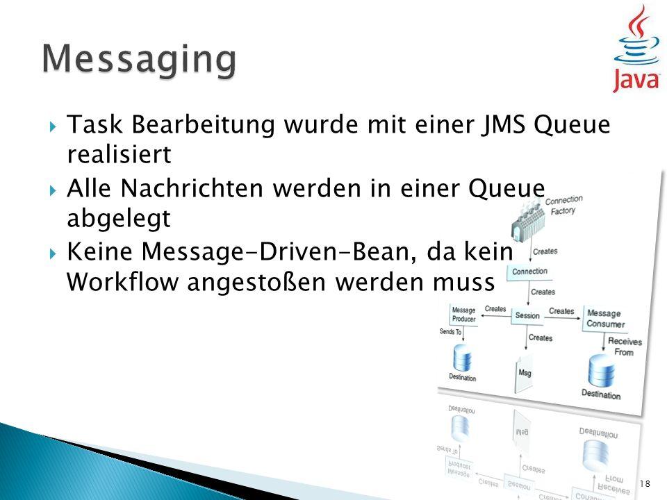  Task Bearbeitung wurde mit einer JMS Queue realisiert  Alle Nachrichten werden in einer Queue abgelegt  Keine Message-Driven-Bean, da kein Workflow angestoßen werden muss 18