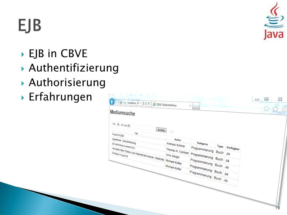  EJB in CBVE  Authentifizierung  Authorisierung  Erfahrungen 19