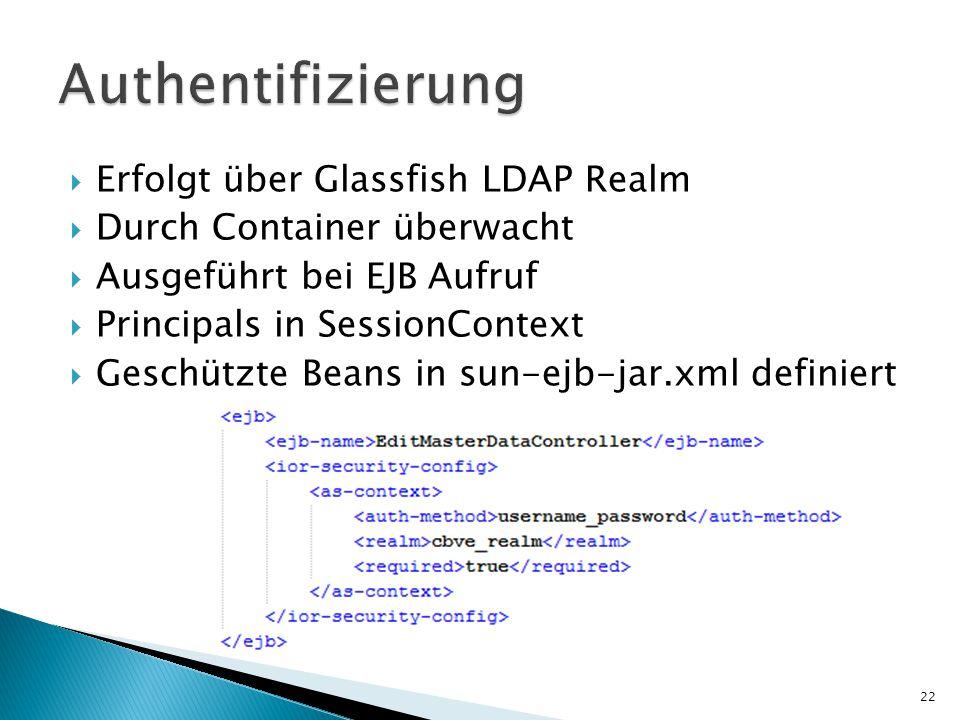  Erfolgt über Glassfish LDAP Realm  Durch Container überwacht  Ausgeführt bei EJB Aufruf  Principals in SessionContext  Geschützte Beans in sun-ejb-jar.xml definiert 22