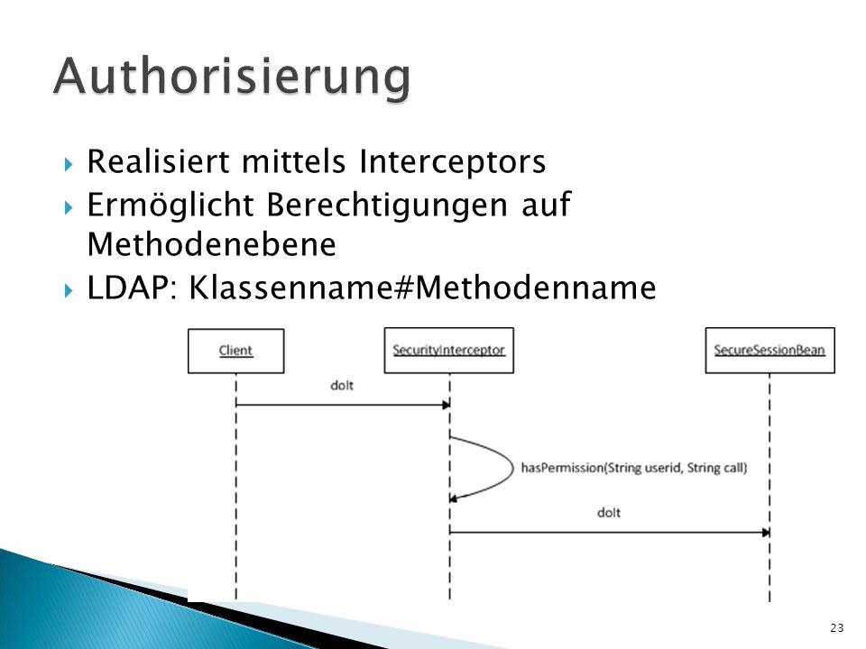  Realisiert mittels Interceptors  Ermöglicht Berechtigungen auf Methodenebene  LDAP: Klassenname#Methodenname 23