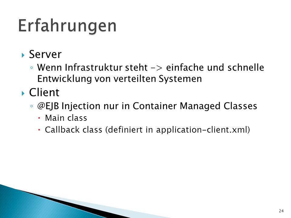  Server ◦ Wenn Infrastruktur steht -> einfache und schnelle Entwicklung von verteilten Systemen  Client ◦ @EJB Injection nur in Container Managed Classes  Main class  Callback class (definiert in application-client.xml) 24
