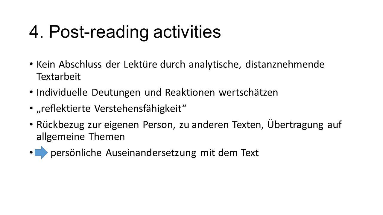 4. Post-reading activities Kein Abschluss der Lektüre durch analytische, distanznehmende Textarbeit Individuelle Deutungen und Reaktionen wertschätzen