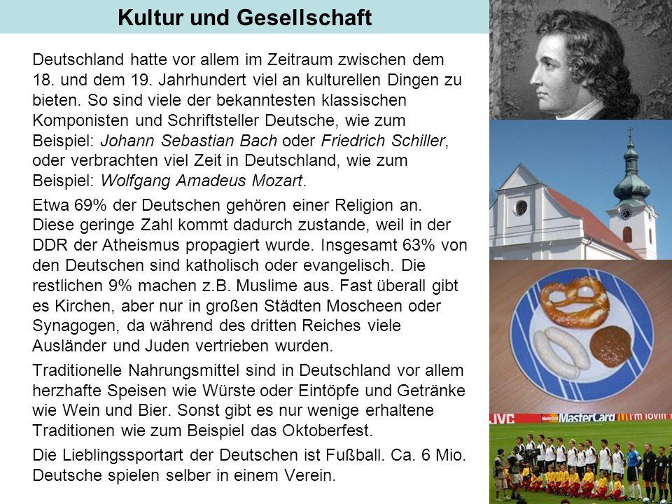 Kultur Deutschland hatte vor allem im Zeitraum zwischen dem 18. und dem 19. Jahrhundert viel an kulturellen Dingen zu bieten. So sind viele der bekann