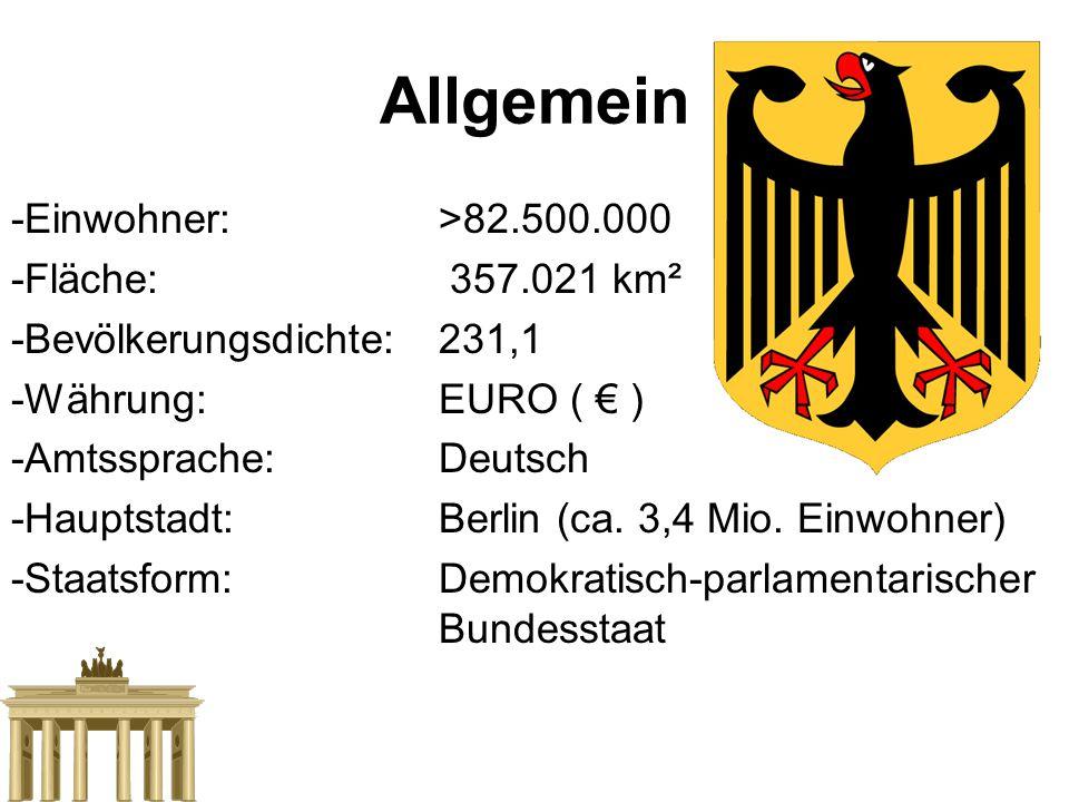 Allgemein -Einwohner:>82.500.000 -Fläche: 357.021 km² -Bevölkerungsdichte:231,1 -Währung:EURO ( € ) -Amtssprache:Deutsch -Hauptstadt:Berlin (ca. 3,4 M