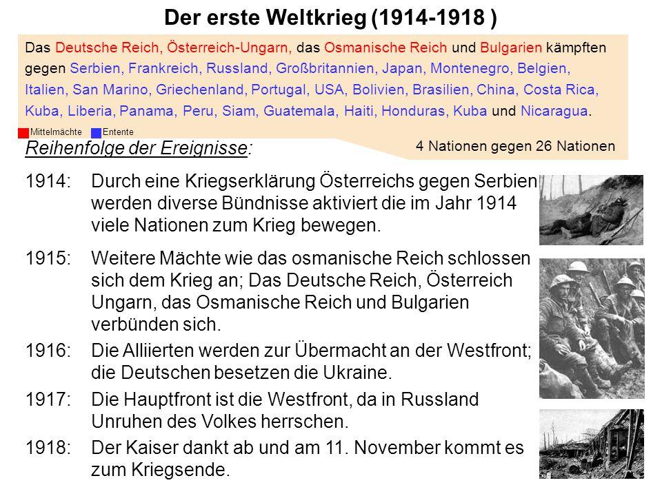Geschichte III Das Deutsche Reich, Österreich-Ungarn, das Osmanische Reich und Bulgarien kämpften gegen Serbien, Frankreich, Russland, Großbritannien,
