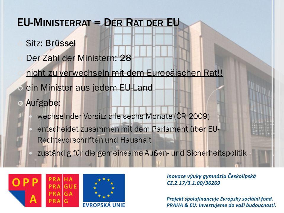 EU-M INISTERRAT = D ER R AT DER EU Sitz: Brüssel Der Zahl der Ministern: 28 nicht zu verwechseln mit dem Europäischen Rat!! ein Minister aus jedem EU-