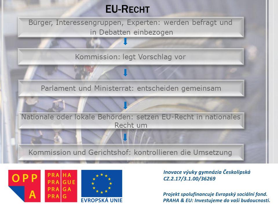 EU-R ECHT Bürger, Interessengruppen, Experten: werden befragt und in Debatten einbezogen Bürger, Interessengruppen, Experten: werden befragt und in De