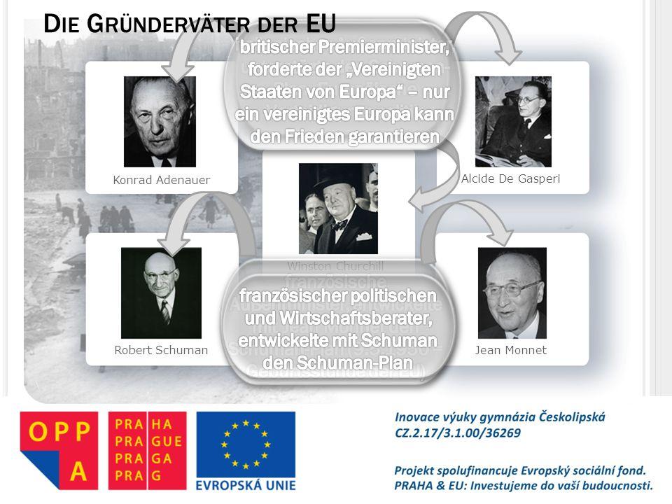 Konrad Adenauer Robert Schuman Winston Churchill Alcide De Gasperi Jean Monnet D IE G RÜNDERVÄTER DER EU