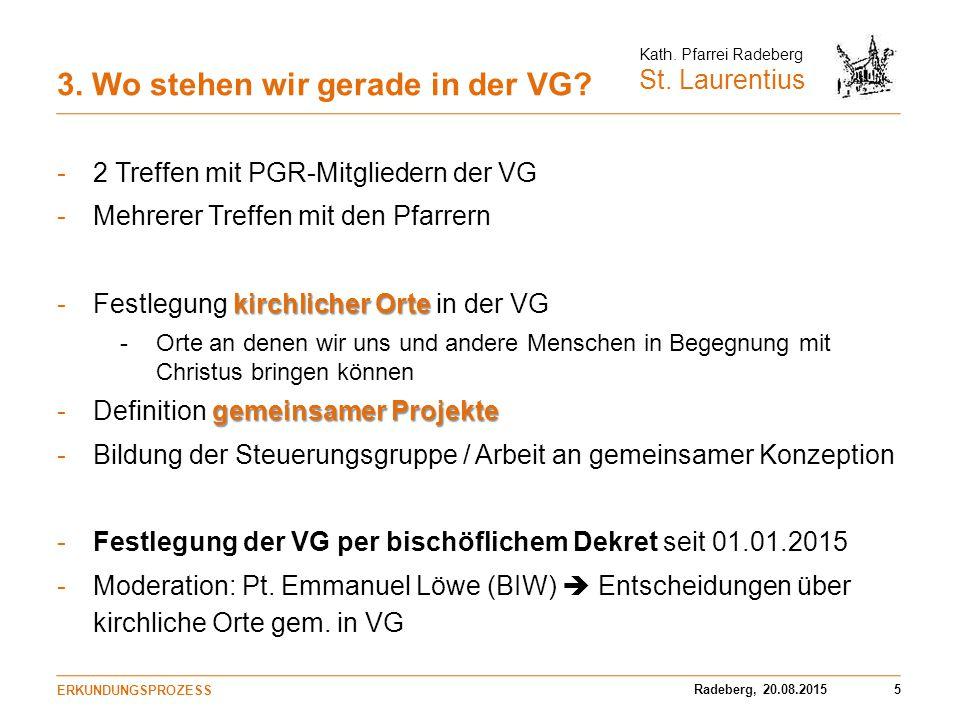 Radeberg, 20.08.20155 Kath. Pfarrei Radeberg St. Laurentius 3. Wo stehen wir gerade in der VG? -2 Treffen mit PGR-Mitgliedern der VG -Mehrerer Treffen