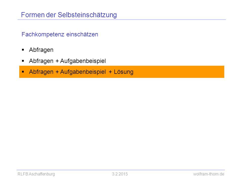 RLFB Aschaffenburg3.2.2015 wolfram-thom.de Formen der Selbsteinschätzung Fachkompetenz einschätzen  Abfragen  Abfragen + Aufgabenbeispiel  Abfragen