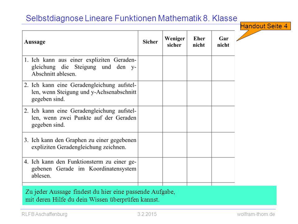 RLFB Aschaffenburg3.2.2015 wolfram-thom.de Selbstdiagnose Lineare Funktionen Mathematik 8. Klasse Zu jeder Aussage findest du hier eine passende Aufga