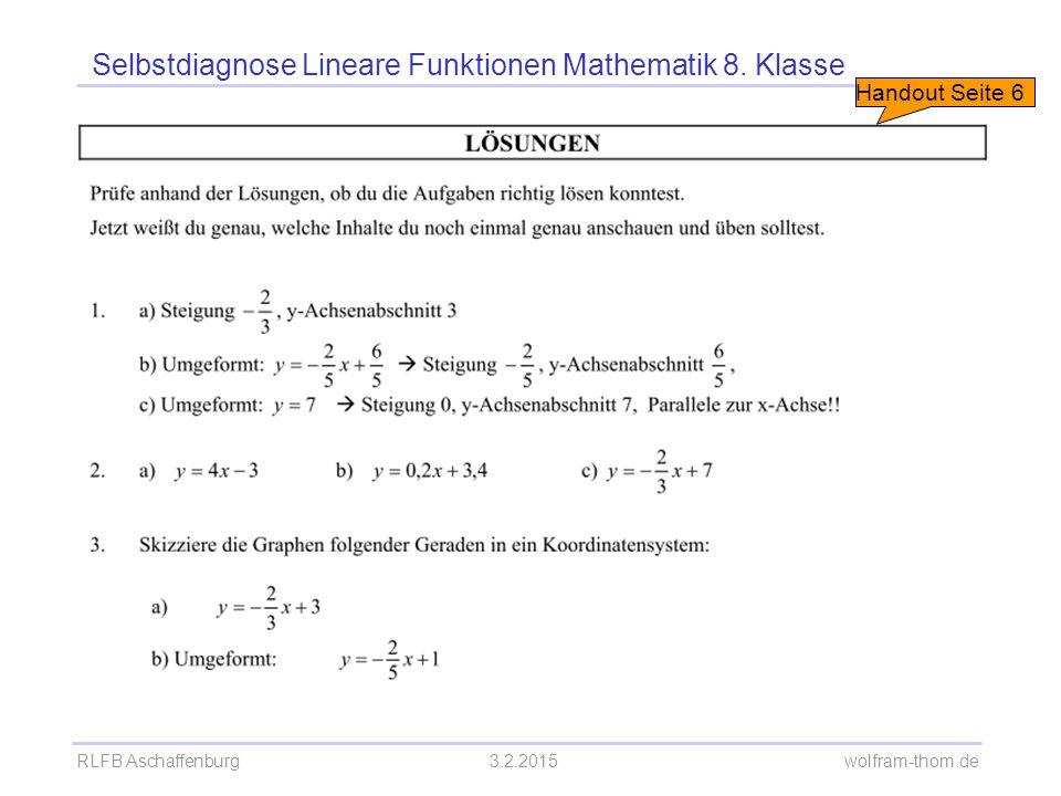 RLFB Aschaffenburg3.2.2015 wolfram-thom.de Selbstdiagnose Lineare Funktionen Mathematik 8. Klasse Handout Seite 6