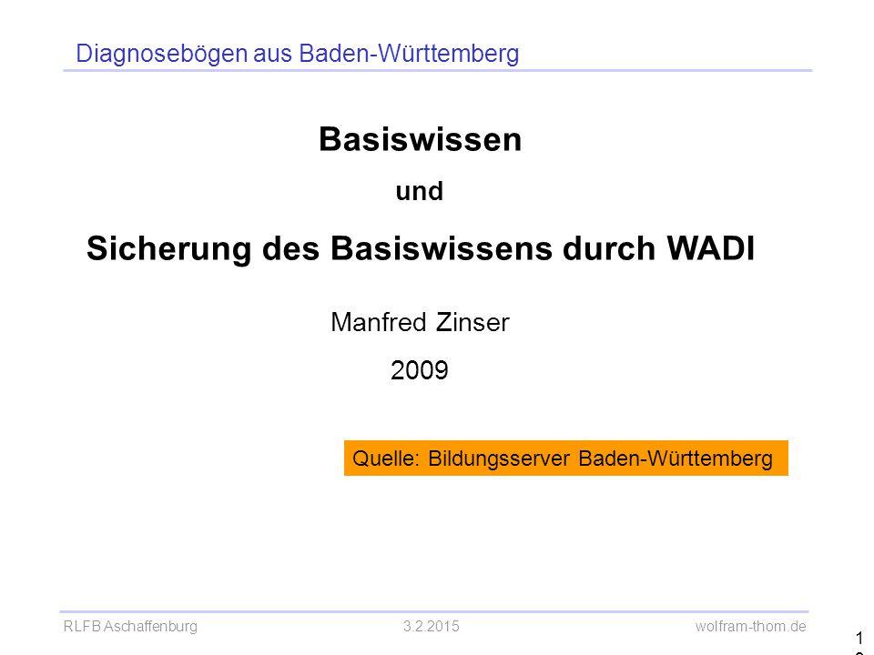 RLFB Aschaffenburg3.2.2015 wolfram-thom.de 19 Basiswissen und Sicherung des Basiswissens durch WADI Manfred Zinser 2009 Quelle: Bildungsserver Baden-W