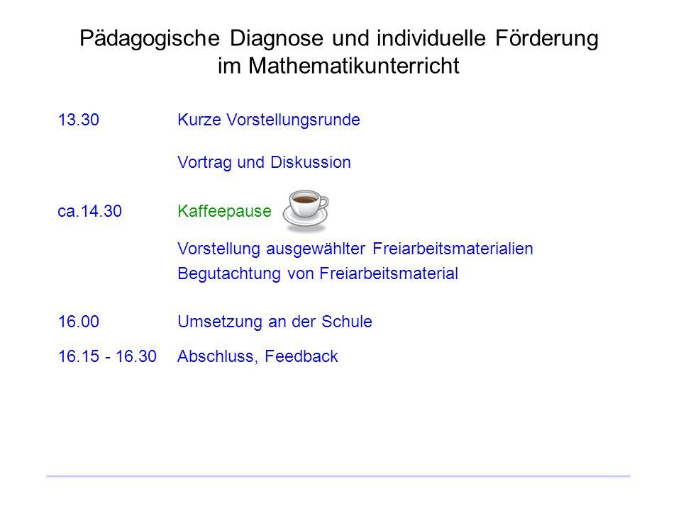 Pädagogische Diagnose und individuelle Förderung im Mathematikunterricht 13.30Kurze Vorstellungsrunde Vortrag und Diskussion ca.14.30Kaffeepause Vorst