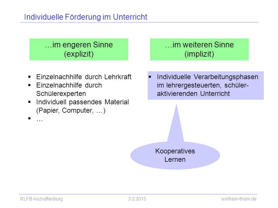 Individuelle Förderung im Unterricht …im engeren Sinne (explizit) …im weiteren Sinne (implizit)  Einzelnachhilfe durch Lehrkraft  Einzelnachhilfe du