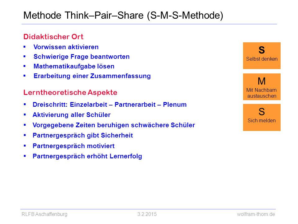 RLFB Aschaffenburg3.2.2015 wolfram-thom.de Didaktischer Ort  Vorwissen aktivieren  Schwierige Frage beantworten  Mathematikaufgabe lösen  Erarbeit