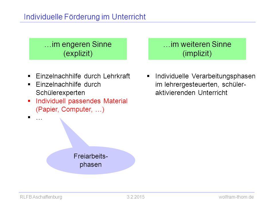 RLFB Aschaffenburg3.2.2015 wolfram-thom.de Individuelle Förderung durch Freiarbeitsphasen Freiarbeit =Selbstständiges Arbeiten an selbstgewählten Aufgaben, mit selbstständiger Lösungskontrolle