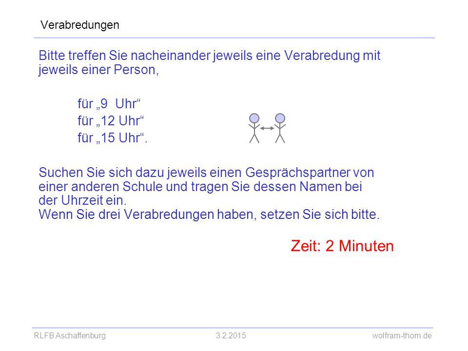 """RLFB Aschaffenburg3.2.2015 wolfram-thom.de Verabredungen Bitte treffen Sie nacheinander jeweils eine Verabredung mit jeweils einer Person, für """"9 Uhr"""""""