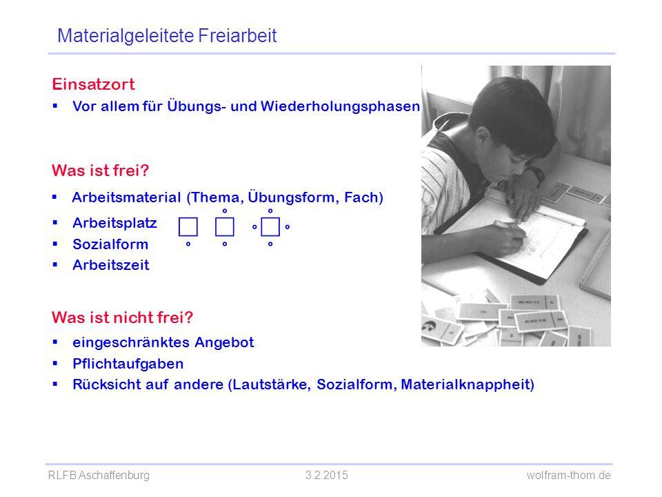 RLFB Aschaffenburg3.2.2015 wolfram-thom.de Einsatzort  Vor allem für Übungs- und Wiederholungsphasen Was ist frei?  Arbeitsmaterial (Thema, Übungsfo