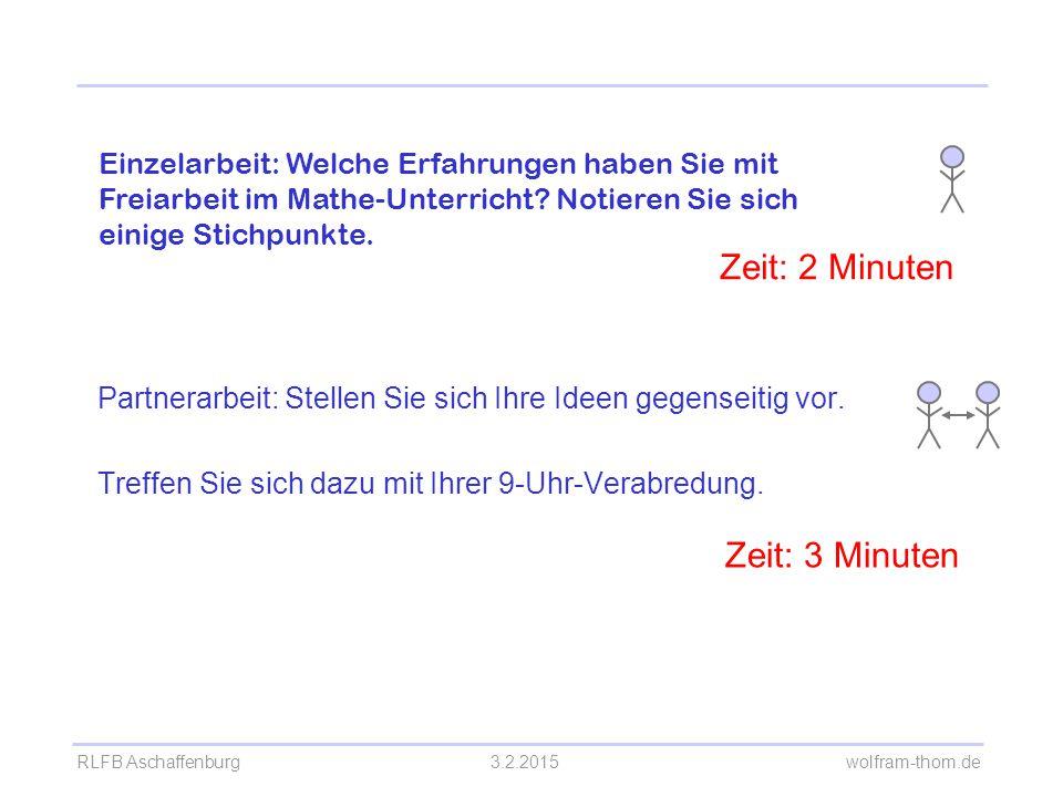 RLFB Aschaffenburg3.2.2015 wolfram-thom.de Partnerarbeit: Stellen Sie sich Ihre Ideen gegenseitig vor. Treffen Sie sich dazu mit Ihrer 9-Uhr-Verabredu
