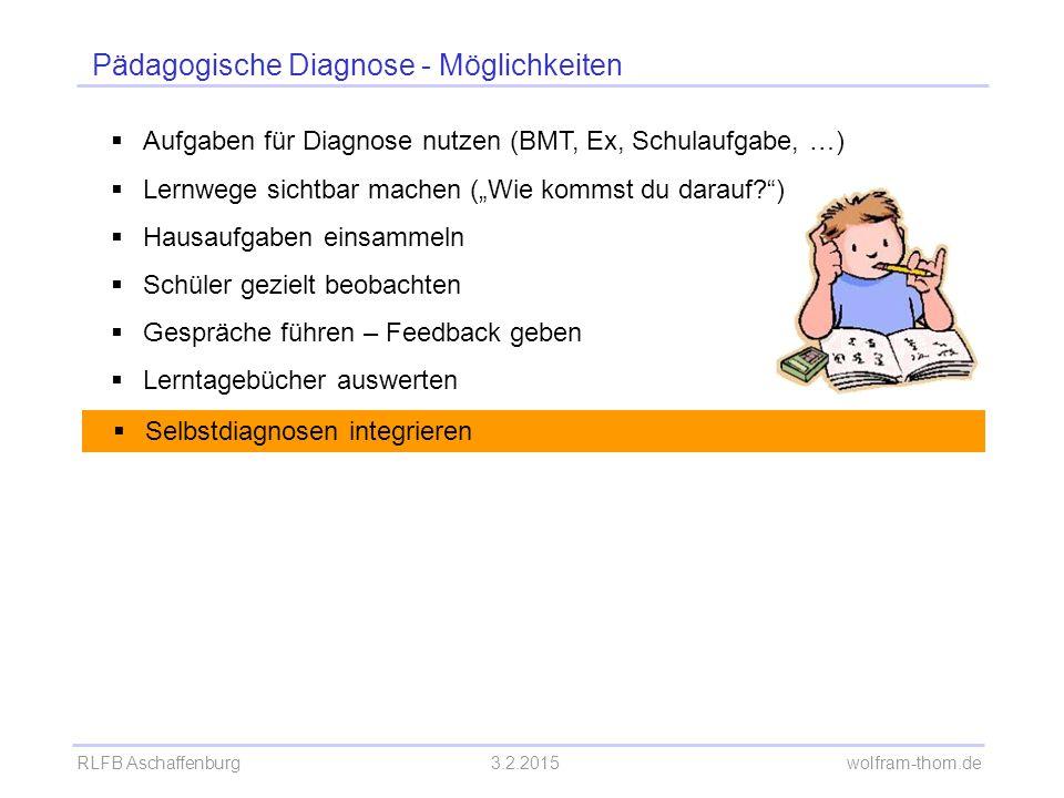 RLFB Aschaffenburg3.2.2015 wolfram-thom.de Pädagogische Diagnose - Möglichkeiten  Aufgaben für Diagnose nutzen (BMT, Ex, Schulaufgabe, …)  Lernwege
