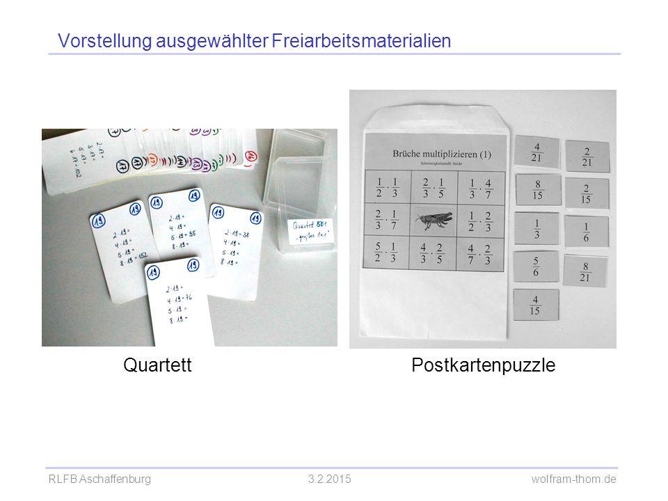 RLFB Aschaffenburg3.2.2015 wolfram-thom.de Vorstellung ausgewählter Freiarbeitsmaterialien QuartettPostkartenpuzzle