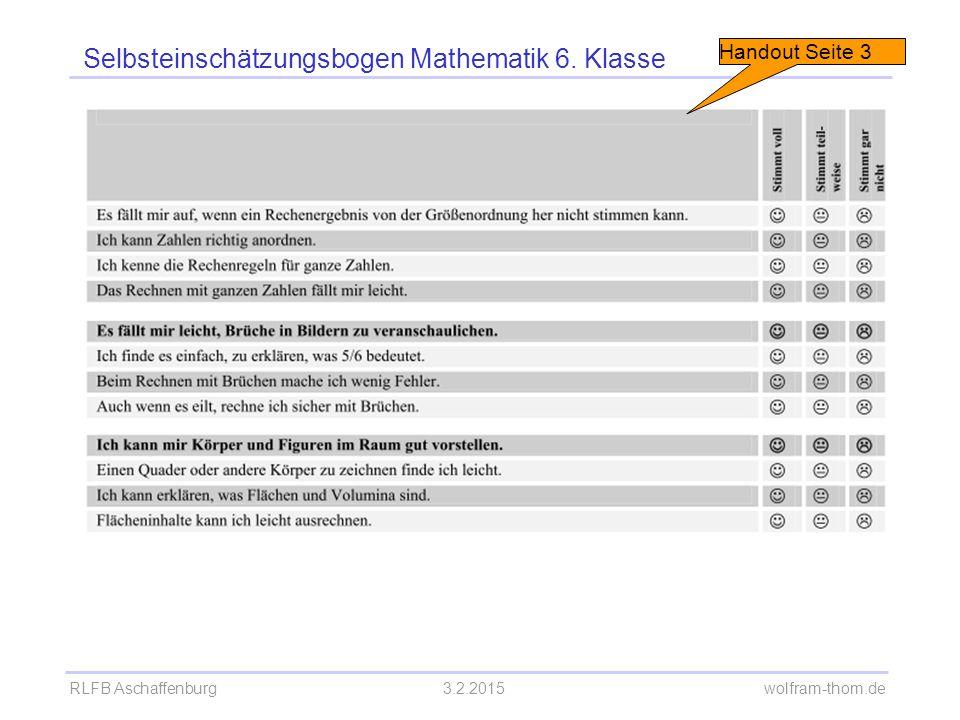 RLFB Aschaffenburg3.2.2015 wolfram-thom.de Formen der Selbsteinschätzung Fachkompetenz einschätzen  Offenlegung der Lernziele  Nachdenken über Lernstand  Einbeziehung der Eltern möglich