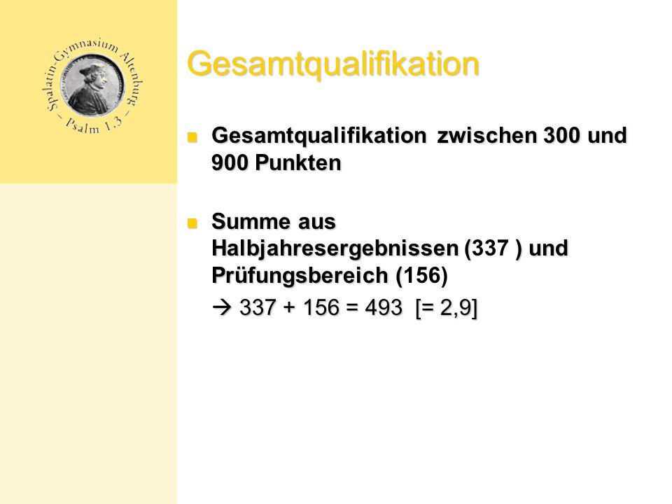 Gesamtqualifikation Gesamtqualifikation zwischen 300 und 900 Punkten Gesamtqualifikation zwischen 300 und 900 Punkten Summe aus Halbjahresergebnissen ( ) und Prüfungsbereich ( Summe aus Halbjahresergebnissen (337 ) und Prüfungsbereich (156)  337 + 156 = 493 [= 2,9]