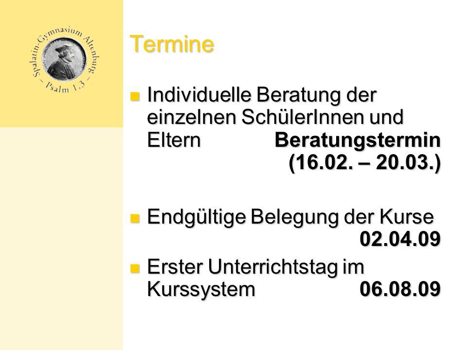 Termine Individuelle Beratung der einzelnen SchülerInnen und Eltern Beratungstermin (16.02.