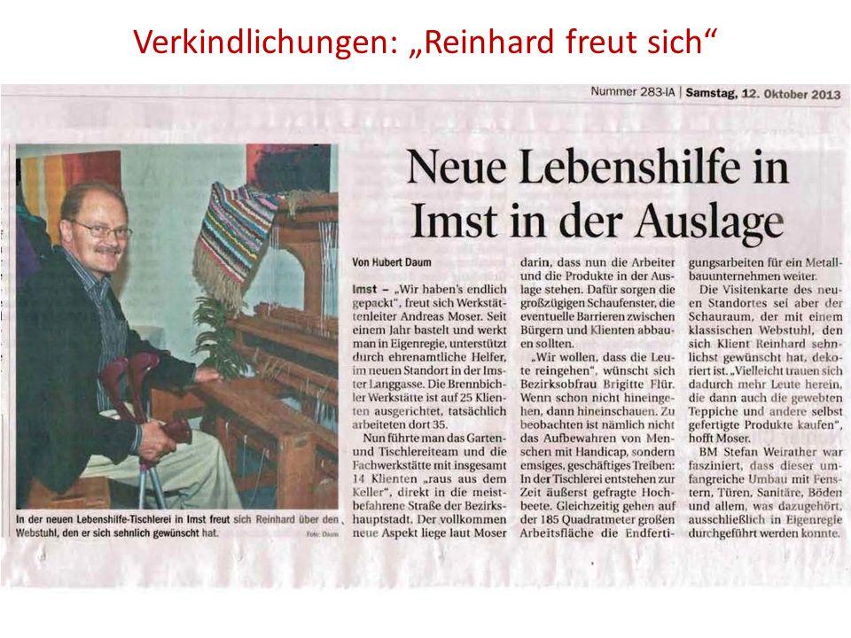 """Verkindlichungen: """"Reinhard freut sich"""""""