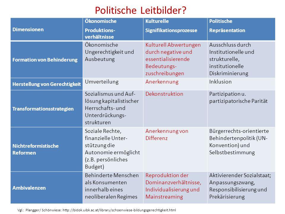 Politische Leitbilder? Dimensionen Ökonomische Produktions- verhältnisse Kulturelle Signifikationsprozesse Politische Repräsentation Formation von Beh