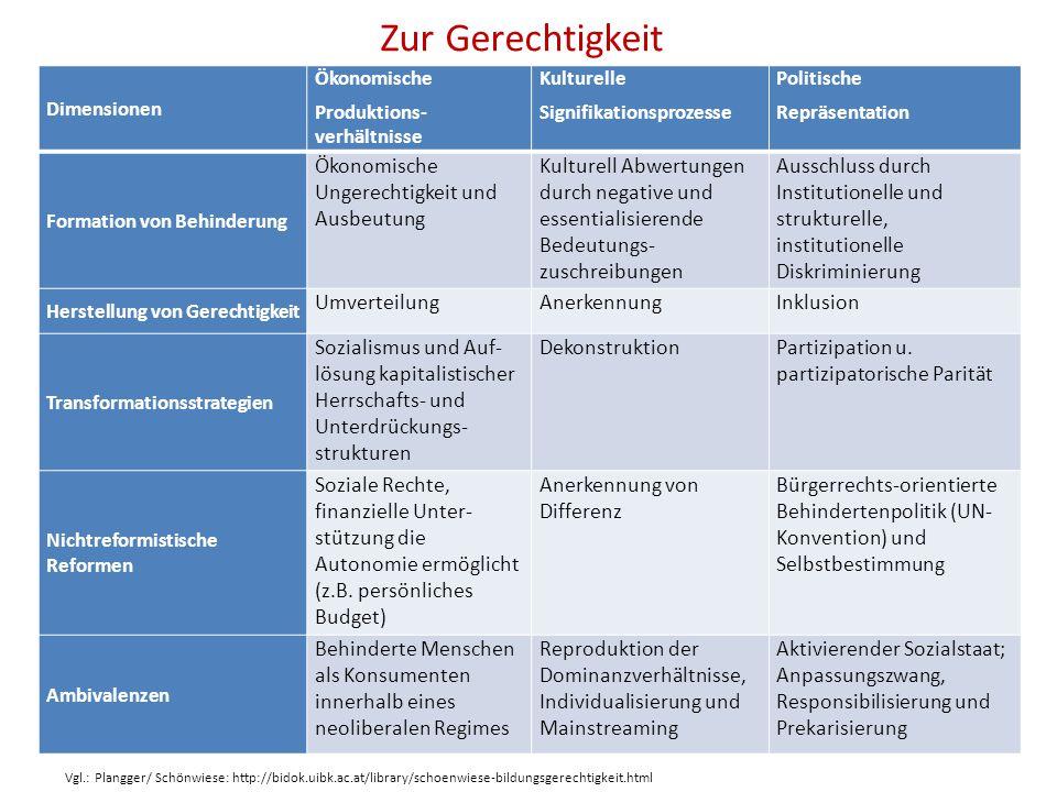 Zur Gerechtigkeit Dimensionen Ökonomische Produktions- verhältnisse Kulturelle Signifikationsprozesse Politische Repräsentation Formation von Behinder