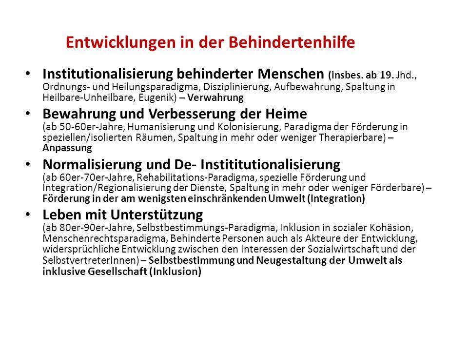 Entwicklungen in der Behindertenhilfe Institutionalisierung behinderter Menschen (insbes. ab 19. Jhd., Ordnungs- und Heilungsparadigma, Disziplinierun