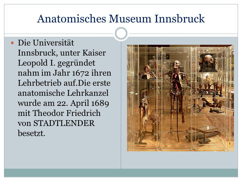 Anatomisches Museum Innsbruck Die Universität Innsbruck, unter Kaiser Leopold I. gegründet nahm im Jahr 1672 ihren Lehrbetrieb auf.Die erste anatomisc