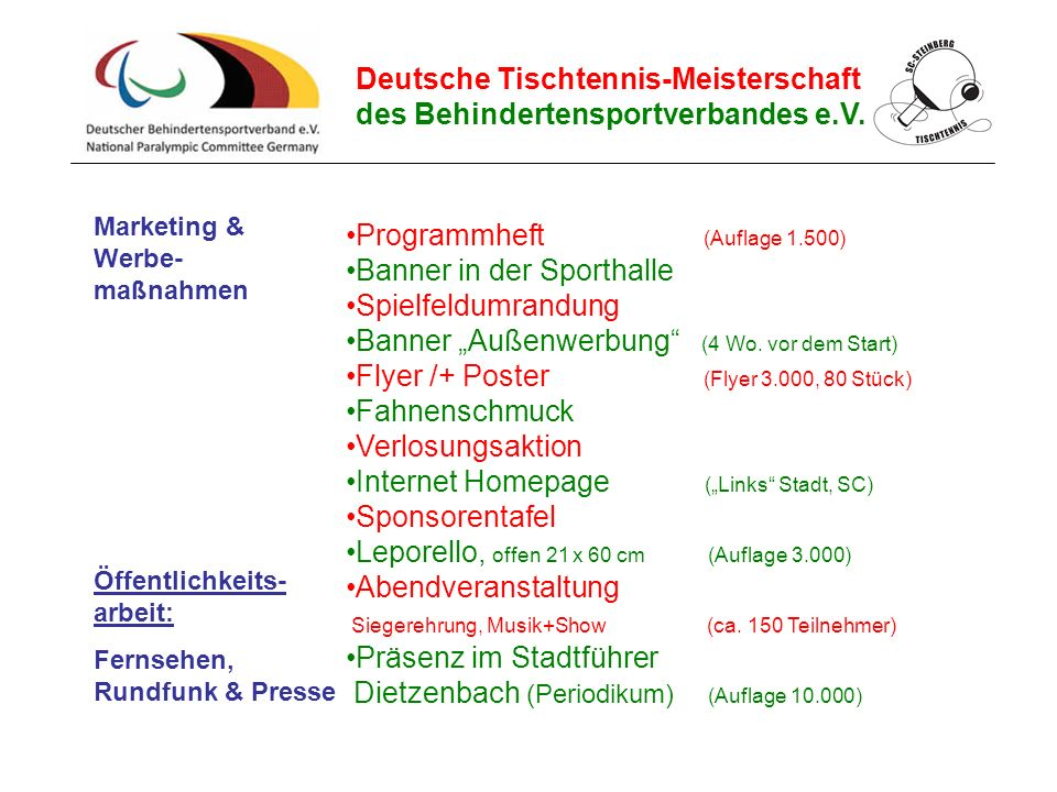 Deutsche Tischtennis-Meisterschaft des Behindertensportverbandes e.V. Marketing & Werbe- maßnahmen Programmheft (Auflage 1.500) Banner in der Sporthal