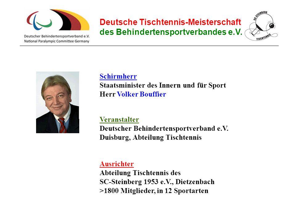 Deutsche Tischtennis-Meisterschaft des Behindertensportverbandes e.V. Ausrichter Abteilung Tischtennis des SC-Steinberg 1953 e.V., Dietzenbach >1800 M