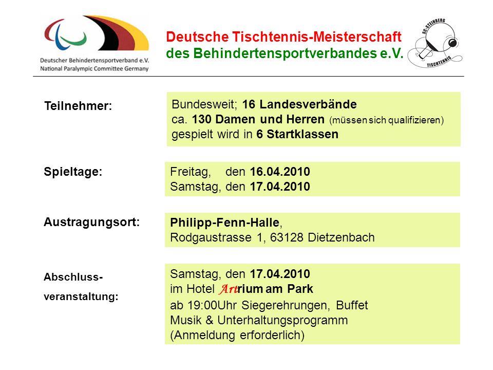 Bundesweit; 16 Landesverbände ca. 130 Damen und Herren (müssen sich qualifizieren) gespielt wird in 6 Startklassen Spieltage: Austragungsort: Teilnehm