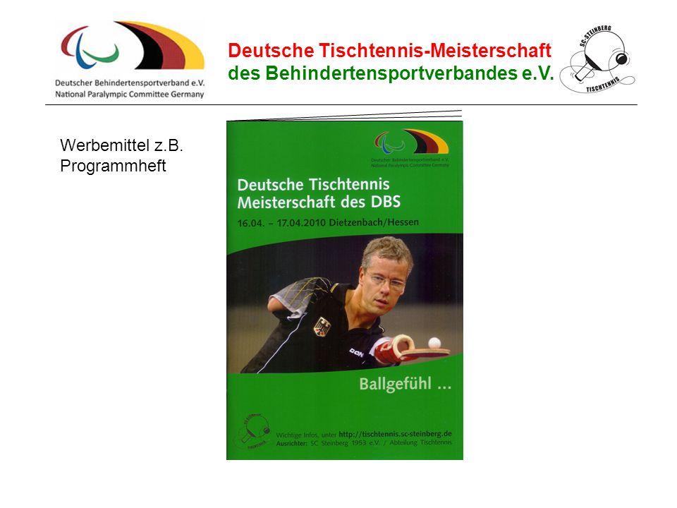Deutsche Tischtennis-Meisterschaft des Behindertensportverbandes e.V. Werbemittel z.B. Programmheft