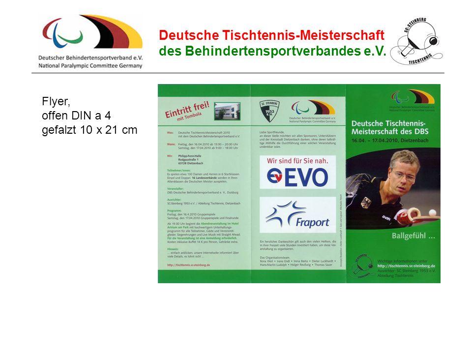 Deutsche Tischtennis-Meisterschaft des Behindertensportverbandes e.V. Flyer, offen DIN a 4 gefalzt 10 x 21 cm