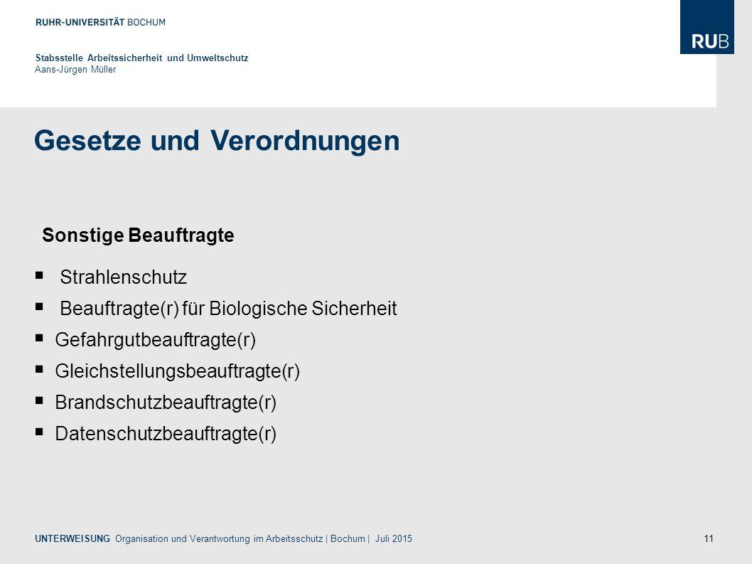 11 Gesetze und Verordnungen Stabsstelle Arbeitssicherheit und Umweltschutz Aans-Jürgen Müller  Strahlenschutz  Beauftragte(r) für Biologische Sicher