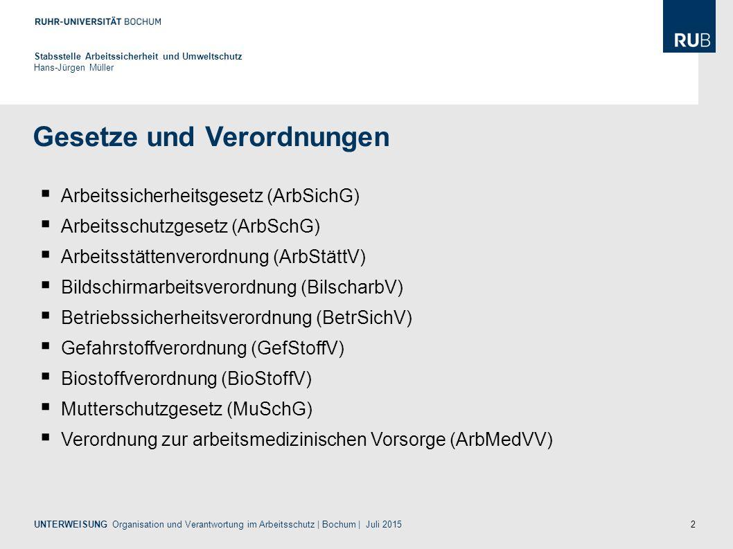 2 Gesetze und Verordnungen Stabsstelle Arbeitssicherheit und Umweltschutz Hans-Jürgen Müller  Arbeitssicherheitsgesetz (ArbSichG)  Arbeitsschutzgesetz (ArbSchG)  Arbeitsstättenverordnung (ArbStättV)  Bildschirmarbeitsverordnung (BilscharbV)  Betriebssicherheitsverordnung (BetrSichV)  Gefahrstoffverordnung (GefStoffV)  Biostoffverordnung (BioStoffV)  Mutterschutzgesetz (MuSchG)  Verordnung zur arbeitsmedizinischen Vorsorge (ArbMedVV) UNTERWEISUNG Organisation und Verantwortung im Arbeitsschutz | Bochum | Juli 2015