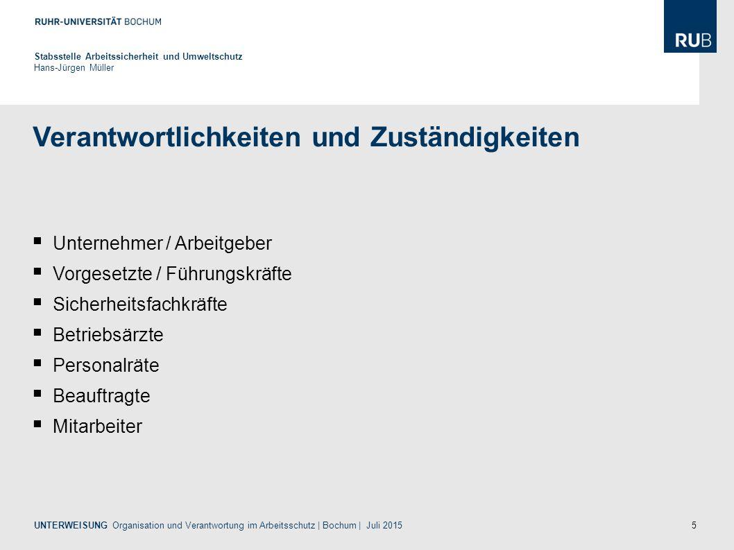 16 Erste Hilfe Stabsstelle Arbeitssicherheit und Umweltschutz Hans-Jürgen Müller UNTERWEISUNG Organisation und Verantwortung im Arbeitsschutz | Bochum | Juli 2015 (1) Der Unternehmer hat....
