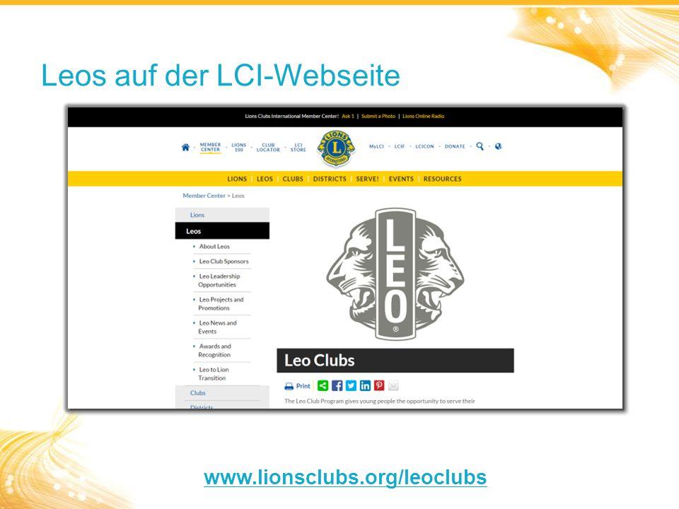 Leos auf der LCI-Webseite www.lionsclubs.org/leoclubs