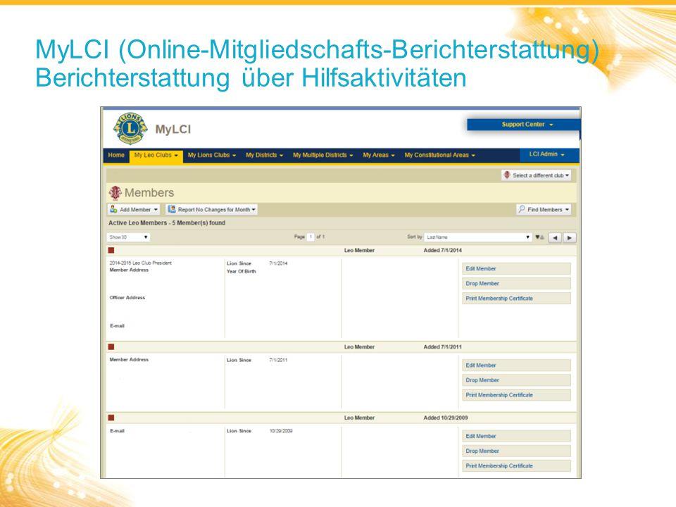 MyLCI (Online-Mitgliedschafts-Berichterstattung) Berichterstattung über Hilfsaktivitäten