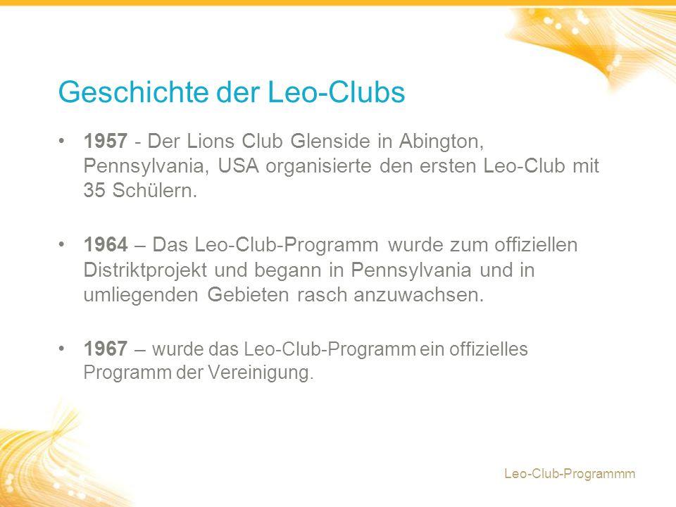 1957 - Der Lions Club Glenside in Abington, Pennsylvania, USA organisierte den ersten Leo-Club mit 35 Schülern.