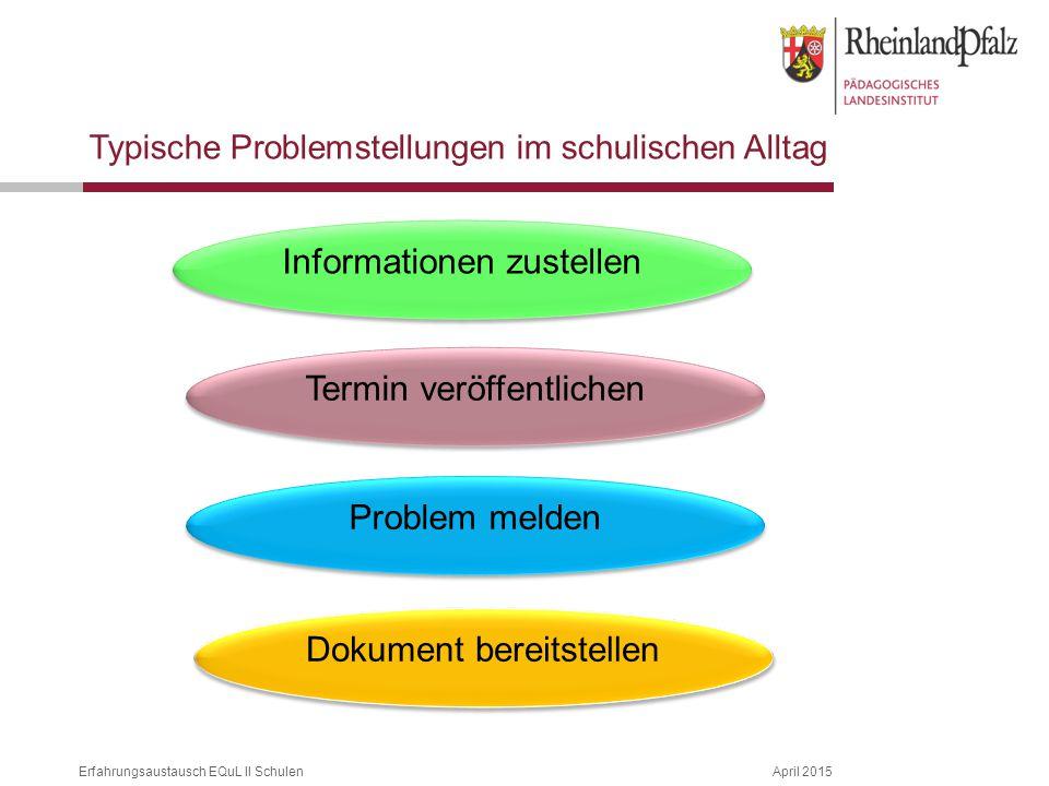 Erfahrungsaustausch EQuL II SchulenApril 2015 Typische Problemstellungen im schulischen Alltag Informationen zustellen Termin veröffentlichen Problem melden Dokument bereitstellen