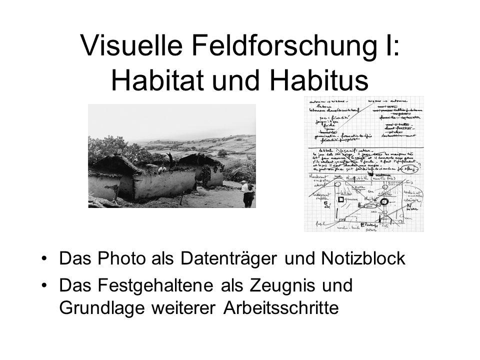 Visuelle Feldforschung I: Habitat und Habitus Das Photo als Datenträger und Notizblock Das Festgehaltene als Zeugnis und Grundlage weiterer Arbeitsschritte