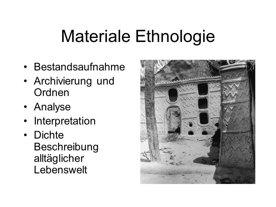 Materiale Ethnologie Bestandsaufnahme Archivierung und Ordnen Analyse Interpretation Dichte Beschreibung alltäglicher Lebenswelt